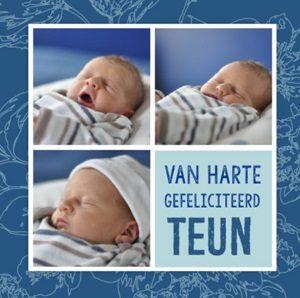 Felicitatie geboorte zoon kaart